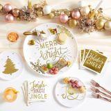 Assiettes à dîner en plastique de qualité supérieure Arbre de Noël, or, paq. 4 | Amscannull