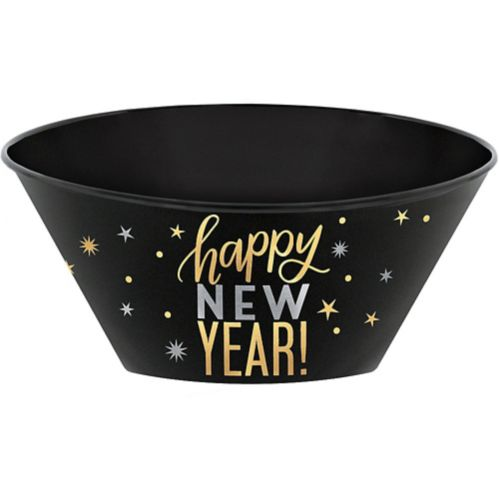 Metallic Gold & Silver Happy New Year Serving Bowl