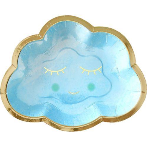 Blue & Metallic Gold Happy Cloud Plates, 8-pk