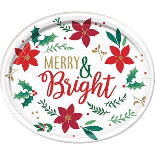 Holly Merry Christmas Oval Plates, 12-in, 8-pk