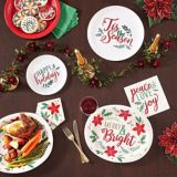 Holly Merry Christmas Oval Plates, 12-in, 8-pk   Amscannull