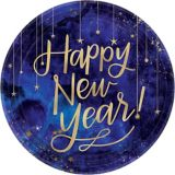 Midnight Happy New Year Dinner Plates, Metallic Gold, 8-pk | Amscannull