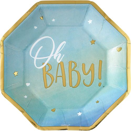 Oh Baby Dinner Plates, Metallic Blue/Gold 8-pk