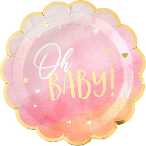 Oh Baby Dinner Plates, Metallic Gold/Pink, 8-pk