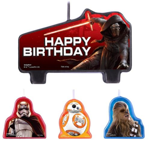 Star Wars Episode VII The Force Awakens Birthday Candles, 4-pc
