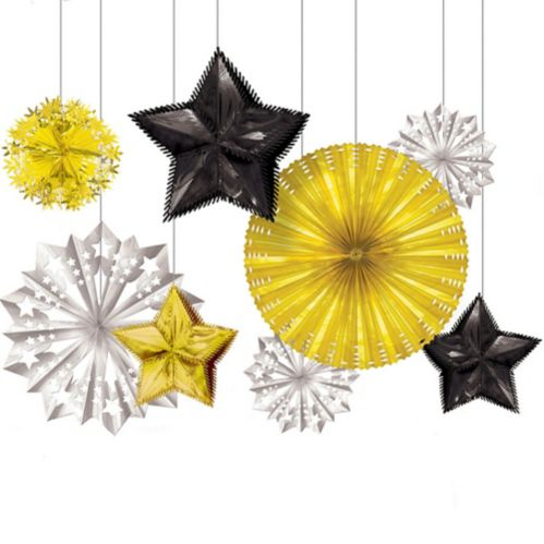 Black, Gold & Silver New Year's Starburst Decorations, 8-pc