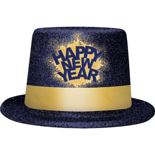 Glitter Happy New Year Top Hat, Blue/Gold