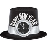 Glitter Clock Happy New Year Top Hat, Black/Silver | Amscannull