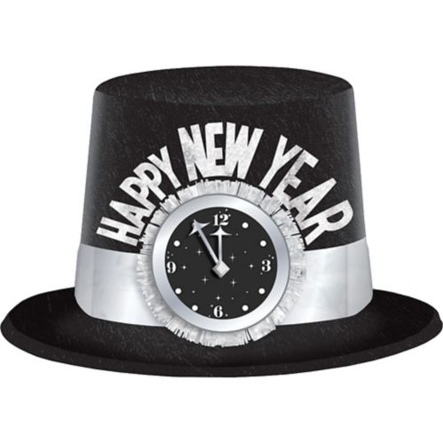 Glitter Clock Happy New Year Top Hat, Black/Silver