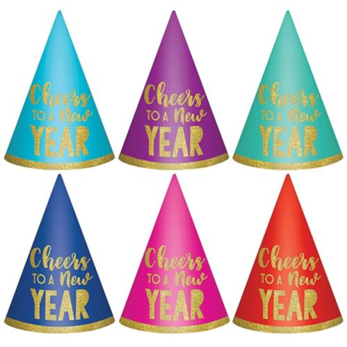 Glitter Cheers to a New Year Party Hats, 6-pk
