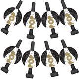 Black & Gold Champagne Bottle Confetti Blowouts, 8-pk | Amscannull