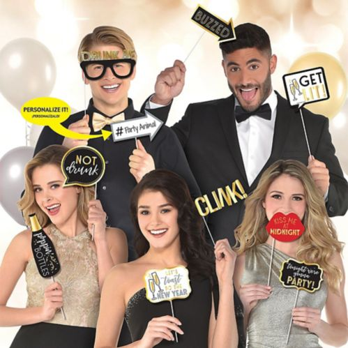 New Year's Eve Photo Booth Props, 13-pc