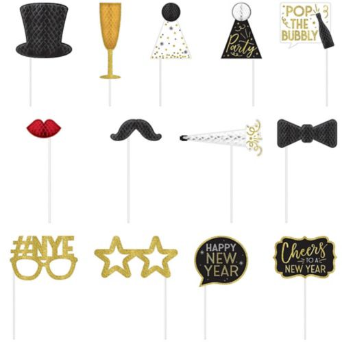 New Year's Eve Honeycomb Photo Booth Props, 12-pk