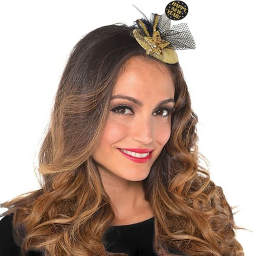 Happy New Year Hair Clip, Black/Gold