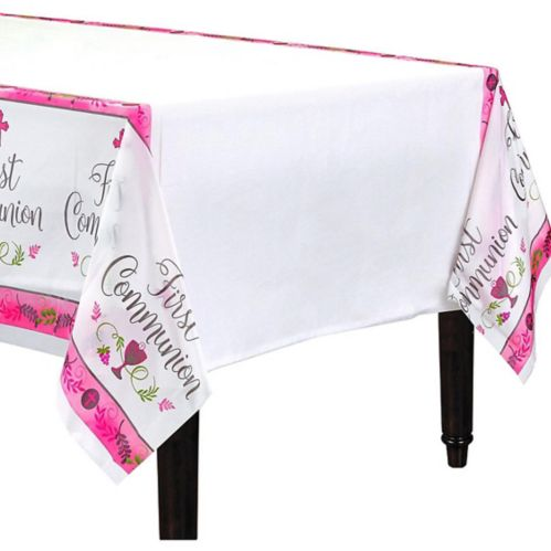 Kids' First Communion Table Cover, Pink/White