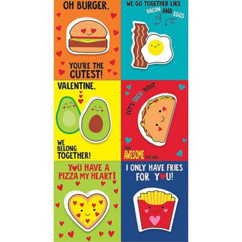 Food Valentine Exchange Cards with Favours, 6-pk