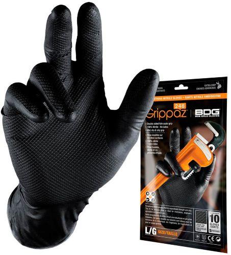 BDG Grippaz Nitrile Disposable Gloves, X-Large, 10-pk