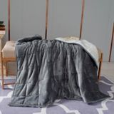 Hooded Weighted Velvet Sherpa Throw, Grey, 10-lbs | NAnull