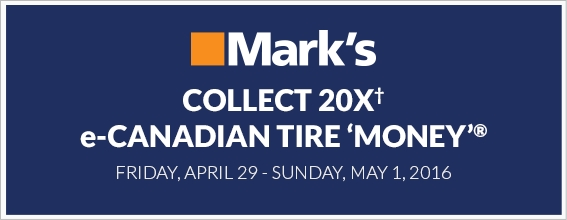 Collect 20X e-Canadian Tire 'Money' at Marks Apr 29 - May 1