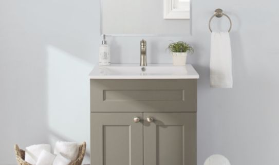 A single sink vanity with clean and simple look.