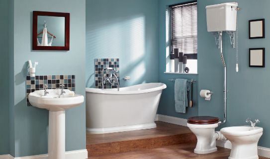 A beautifully painted bathroom.