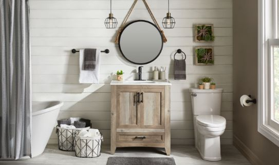 A beautiful rustic style wooden vanity in a stylish bathroom.