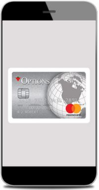 iPhone with Options Mastercard credit card on screen
