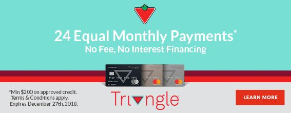 Triangle no fee no interest financing - 24 months
