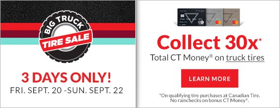 Big Truck Tire Sale at Canadian Tire – September 20 to 22
