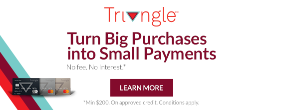 Triangle no fee no interest financing