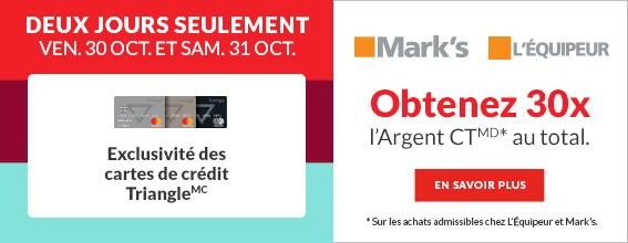 Exclusivite de cartes de credit Triangle – l'Equipeur – 30 et 31 octobre