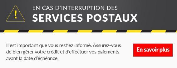 interruption des services postaux
