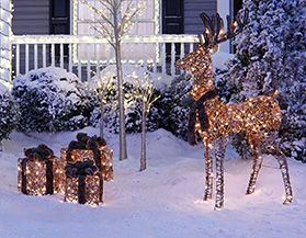 christmas lawn dcor - Outdoor Deer Christmas Decorations