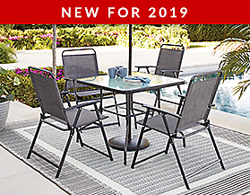 For Living Graphite Sling Dining Set
