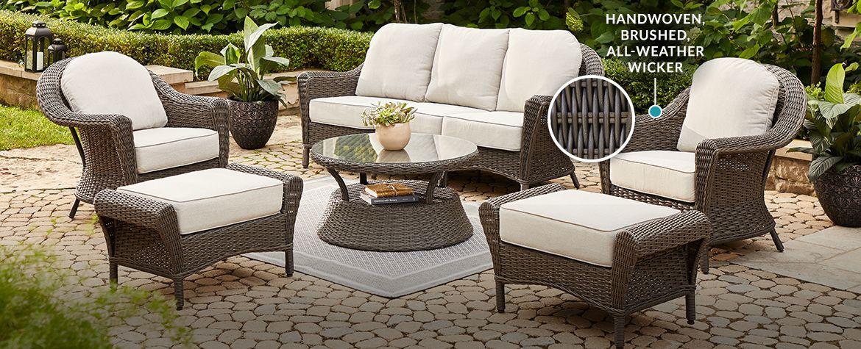Canvas Summerhill Conversation, Resin Wicker Patio Furniture Canadian Tire