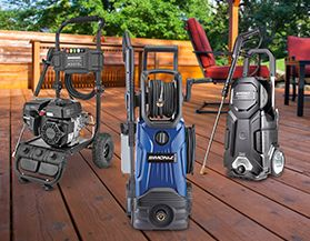 Shop our selection of electric and gas pressure washers