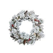NOMA Pre-Lit Berry Flocked Festive Wreath 24-in