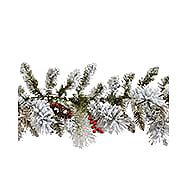 NOMA Berry Flocked Pre-Lit Garland 9-ft