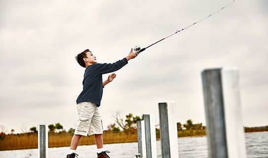 Shorter fishing rods work well for children.