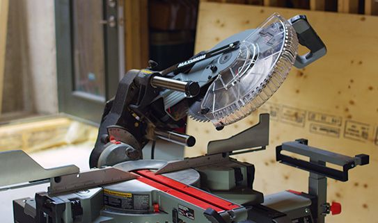 A dual compound mitre saw allows you to make bevel cuts both ways.