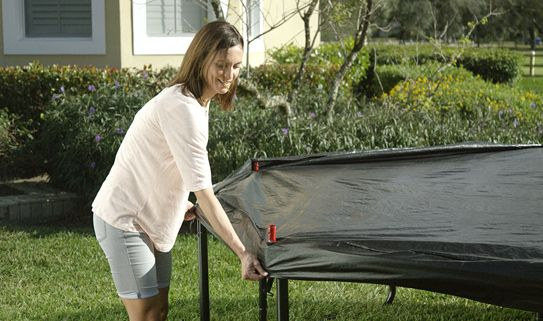 A trampoline cover will protect it from the elements