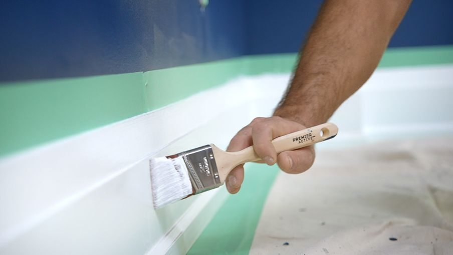 Apply semi-gloss paint to the trim