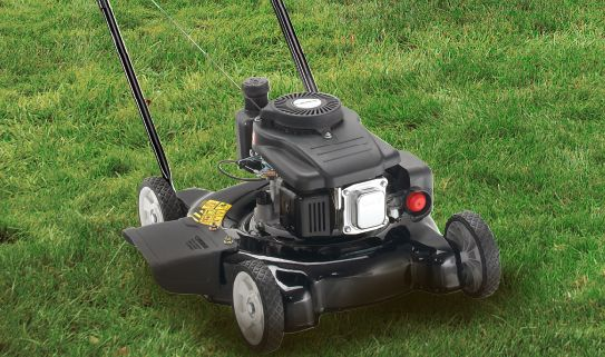 Push mowers are gas-powered and not self-propelled