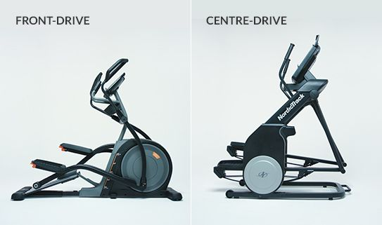 Front-drive and centre-drive elliptical trainers take up less space