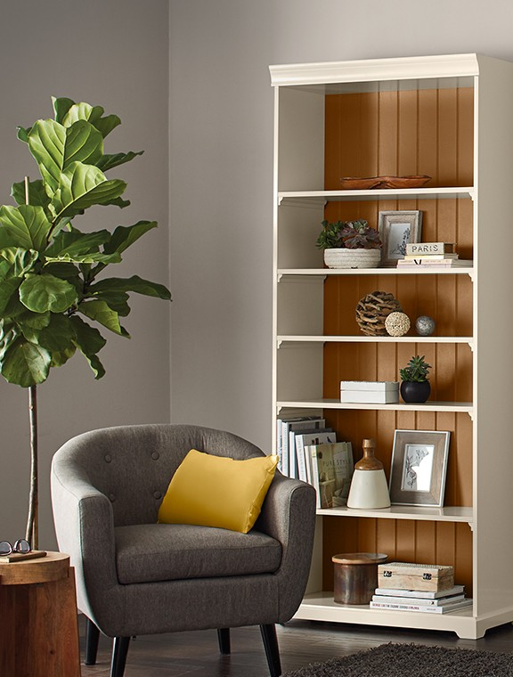 Accent a bookshelf with Premier paint.