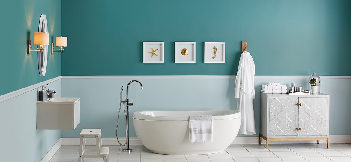 Create a colourful bathroom with Premier paint.